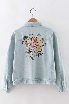 Lapel Neck Embroidery Pocket Front Short Length Denim Coat