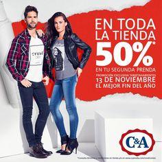 Llévate UNA prenda y PAGA LA MITAD POR LA SEGUNDA! 13 de noviembre, promoción EXCLUSIVA para tarjetahabientes.