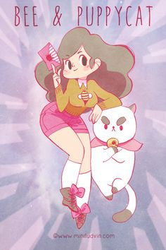 My Inktober fanart of Bee & Puppycat finally in color :)   This is awesome miniludvin! I especially like how perfectly you captured PuppyCat with so much angst! -Kiki
