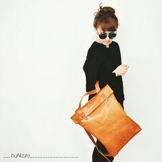 17-inch minimalistische Lederen rugzak / Lederen rugzak door byNizzo
