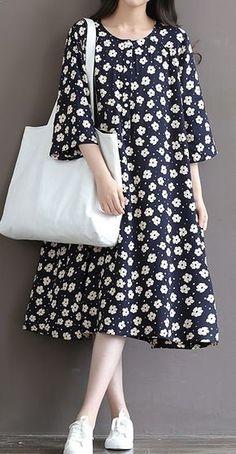 Retro daisy print oversize cotton dresses half sleeve cotton sundress traveling dresses plus size