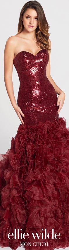 Prom Dresses 2017 - Ellie Wilde for Mon Cheri - Wine Sequin Mermaid Prom Dress with Organza Ruffled Skirt  - Style No. EW117104