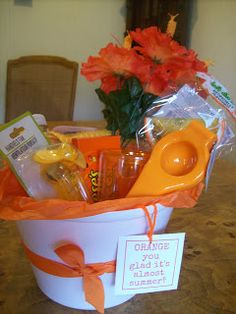"Orange Themed Teacher Appreciation Gift - ""Orange You Glad It's Almost Summer"" gift idea for under $10"