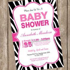 Girl Baby Shower Invitation Hot Pink and Black Zebra Baby Shower Invitation printable invitation 20130116-K1-1