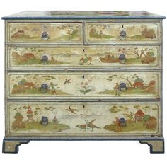 19th Century English Chinoiserie Chest | From a unique collection of antique and modern commodes and chests of drawers at http://www.1stdibs.com/furniture/storage-case-pieces/commodes-chests-of-drawers/
