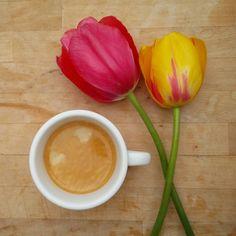 Etwas mit schöner Farbe und wundervollen Geruch und daneben zwei Blumen.  #kaffee #blumen