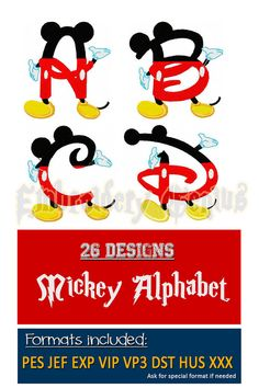 Mickey Alphabet Embroidery Font Monogram 26 by EmbroideryGenius