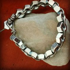 Hex nuts and pewter leather cord #mens #bracelet #handmade #BigMommasBeadery