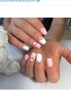 Pink and white nail design!