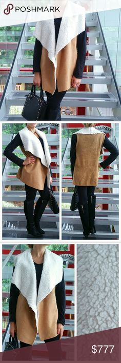 Faux suede and shearling vest Brand new with tags  Grab this comfy and cozy faux suede with lined faux shearling fur vest for Fall/Winter So soft inside. Pair with jeans, a sweater and booties or leggings, comfy top and boots. Styling options are limitless. You will love this vest!! Jackets & Coats Vests