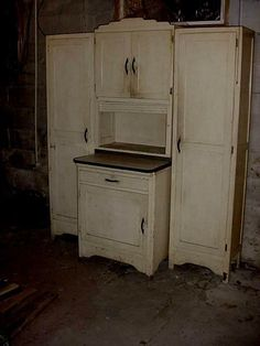 Antique Art Deco Rare Sweetheart Hoosier Cupboard Cabinet 4 Piece Set 1940s #ArtDeco