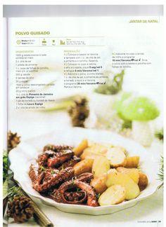 Revista bimby pt-s02-0037 - dezembro 2013 Portuguese Recipes, Portuguese Food, Guisado, Confort Food, Kitchen Time, Cooking Tips, Sausage, Food And Drink, Menu