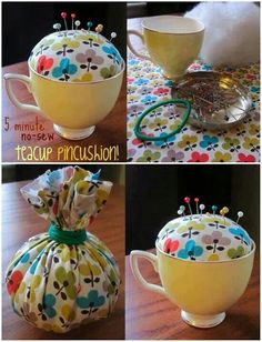 New Patchwork Easy Pin Cushions Ideas Fabric Crafts, Sewing Crafts, Sewing Projects, Crafts To Make, Diy Crafts, 5 Min Crafts, Teacup Crafts, Diy Pins, Sewing Accessories