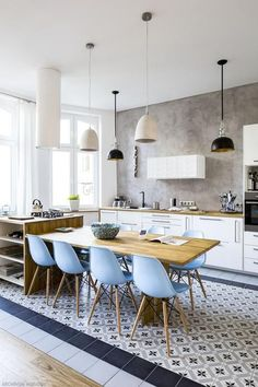 The kitchen is simply white, with light colored wood countertops and light blue … - Kitchen - Best Kitchen Decor! Kitchen Inspirations, Home Decor Kitchen, Small Open Kitchens, Kitchen Island And Table Combo, Interior Design Kitchen, Kitchen Island Design, Home Kitchens, Open Kitchen And Living Room, Kitchen Style