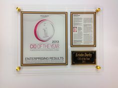 Kristin Darby CIO of the Year 2013.  Custom Newspaper Acrylic Display Plaque