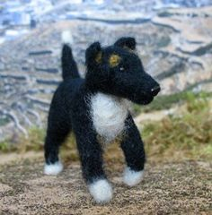 how to: needle felted dog, one of the best tutorials for felting dogs and cats using stencils and pipe cleaners