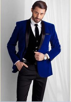 2016 New Designed Royal Blue Velvet Groom Tuxedos groommens suits/Bespoke One button Groom wedding suits for mens/Bestman's wedding suits