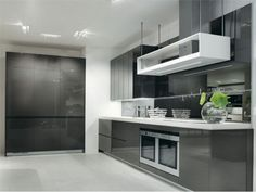 Finding the Perfect Stuff for Kitchen to Make the Most Efficient and Charming Kitchen Ever: Exquisite Fancy Modern Cool Kitchen Stuff Design With Grey And White Color Themes Design Inspiration Also Countertop Minimalist Contemporary Style Decorations ~ boholmain.com Kitchen Design Inspiration: