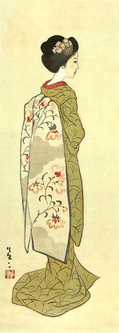 Japan antique art. illustrator / Yumeji Takehisa.   kimono beauty lady. taisyo period .