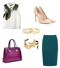 Tropical Work Outfit by danawhite85 on Polyvore featuring polyvore, Mode, style, Elle Sasson, Gianvito Rossi, Dasein, Yves Saint Laurent, fashion and clothing