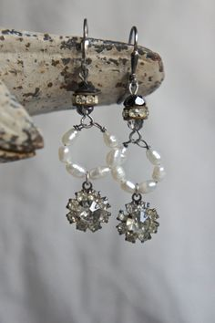 Vintage assemblage earrings seed pearls vintage rhinestones cut glass dangle earrings assemblage jewelry- by French Feather Designs.