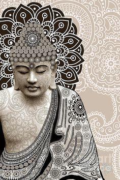 Meditation Mehndi - Paisley Buddha Artwork - Copyrighted Print By Christopher Beikmann