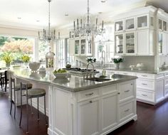 Below are the Ideas For Luxury White Kitchen Design Decor Ideas. This post about Ideas For Luxury White Kitchen Design … White Kitchen Cabinets, Kitchen And Bath, New Kitchen, Kitchen Decor, Kitchen Ideas, Glass Cabinets, Kitchen White, Upper Cabinets, Kitchen Corner