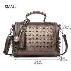 deff767b168f Mynos Tassel Women Leather Handbag Messenger Bag Designer Rivet Shoulder  Bags Ladies Crossbody Top-Handle
