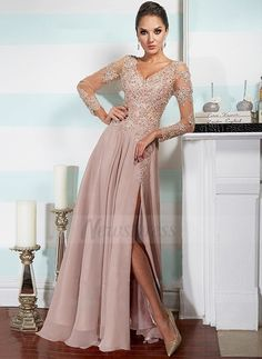 A-Line/Princess V-neck Floor-Length Lace Beading Chiffon Zipper Up Sleeves Long Sleeves Other Colors Winter Spring Fall General Evening Dress