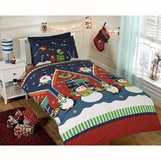 #checkitout  Adorable Christmas themed duvet cover  Features Santa, Snowmen and Penguins! Each set contains 1 x #double duvet cover and 2 x pillowcase Duvet cove...