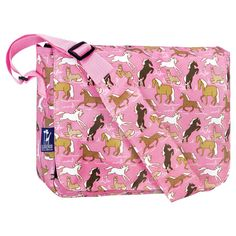 Wildkin Horses in Pink Kickstart Messenger Bag 2 Exterior front pockets 2 utility pockets for phones, pens or paperbacks Velcro-like closure Adjustable padded shoulder strap Great for school or afternoons at the coffee shop x H x W Kids Messenger Bags, Equestrian Gifts, Horse Gifts, Duffel Bag, Girl Gifts, Pink Girl, Diaper Bag, Shoulder Strap, Purses