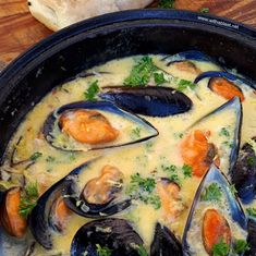 Mussels in Lemon Garlic-Butter Sauce makes the perfect appetizer before the main dinner dish and is an elegant dish for entertaining Garlic Mussels, Mussels Seafood, Steamed Mussels, Baked Mussels, Sauce Recipes, Fish Recipes, Seafood Recipes, Cooking Recipes, Mussel Recipes