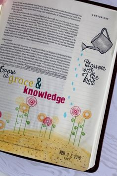 Grow in grace and knowledge. I love this entry made with our Grow In Faith stamp set. #jccolorbyfaith #biblejournaling #study #crafting #joyclairstamps