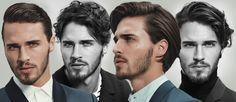 1 mężczyzna, 4 sposoby uczesania dłuższych włosów.