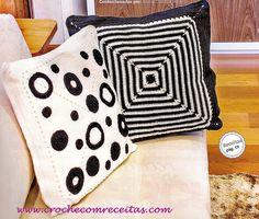 almofadas em croche preto e branco em croche com receitas