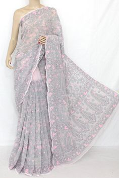 Baby Pink and Purple Allover Hand Embroidered Lucknowi Chikankari Saree  (With Blouse - Georgette) 13626