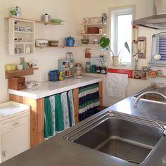 グリーンのある暮らし/模様替え/キッチン棚/棚収納/古道具/昭和レトロ…などのインテリア実例 - 2017-06-06 07:00:53 | RoomClip(ルームクリップ)