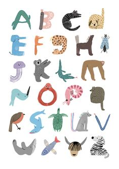 """min-pin: """" New!! It's Min Pin's ABC of Animals! Part of the Pet Shop collection, Min Pin's ABC of Animals print displays each letter of the alphabet, each one made up of an animals that starts with that letter  Printed onto 300gsm, 100% recycled..."""