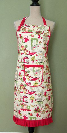Vintage style apron by sophie01 on Etsy, $30.00  (lurve those colors!)