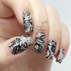 Black and White Lace Nails - Funny Happy Life