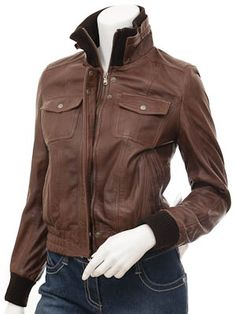 Women'S Leather Bomber Jacket Brown | Outdoor Jacket