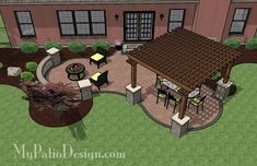 Pergola Patio Design. Hello awesome. Maybe some grapevines growing up that pergola.