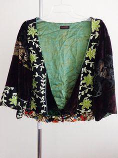 Custo Barcelona jacket lagenlook bolero artsy Japan art to wear silk quirky S M #CustoBarcelona #BoleroShrug