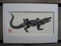Krokodil Linolschnitt Drucken / / Handmade / / von InkshedPress
