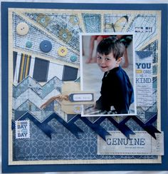 Authentique Genuine papers Genuine through and through. Scrapbook Patterns, Scrapbook Layout Sketches, Scrapbook Designs, Scrapbook Embellishments, Scrapbooking Layouts, Scrapbook Cards, Cruise Scrapbook, Baby Boy Scrapbook, Photo Layouts