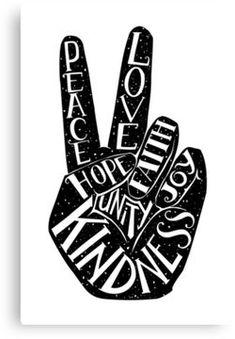 Peace Sign with words Peace, Love, Faith, Joy, Hope, Kindness, Unity Canvas Print