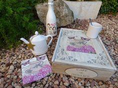 Caja de vino reciclada con decoupage y stencils