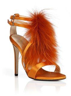 Emilio Pucci Tangerine Fox Fur Heels