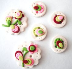 Button Layer Flowers - handmade polymer clay buttons by Etsy seller digitsdesigns.