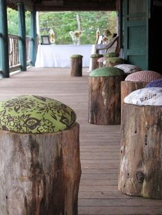 """Another pinner wrote: """"DIY wood stools - super easy and super cheap. Super, easy & cheap all in the same sentence scare me but these are way cute."""" 